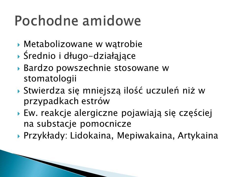 Pochodne amidowe Metabolizowane w wątrobie Średnio i długo-działąjące