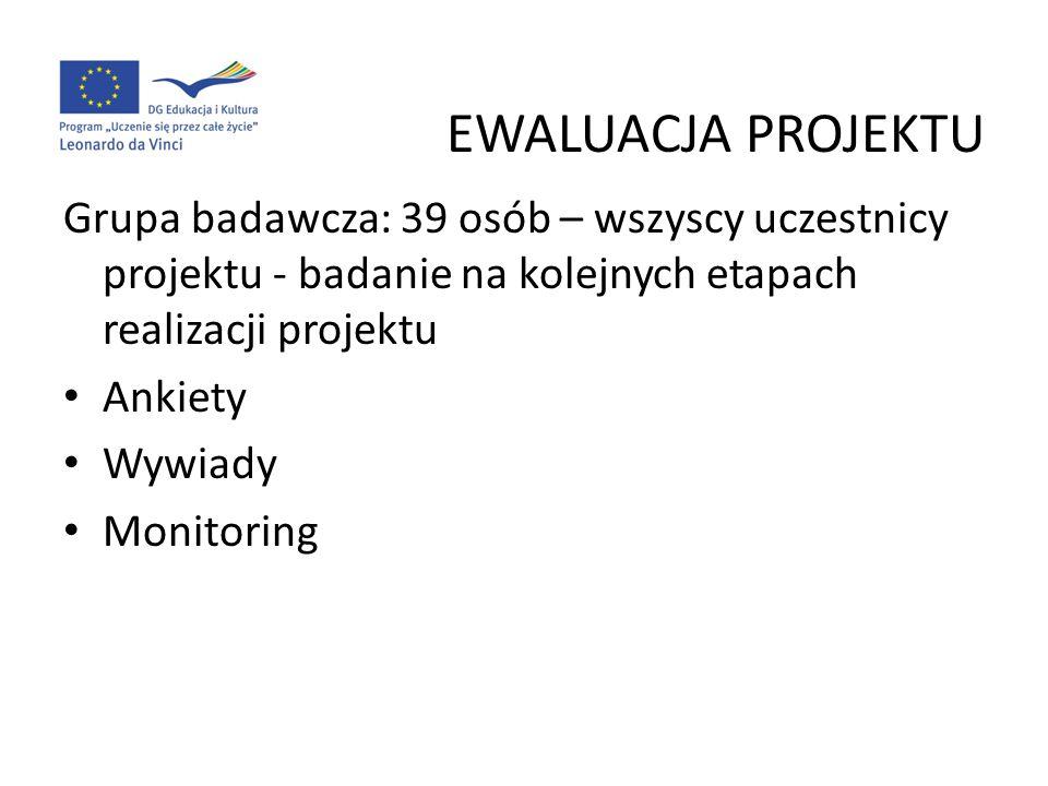 EWALUACJA PROJEKTU Grupa badawcza: 39 osób – wszyscy uczestnicy projektu - badanie na kolejnych etapach realizacji projektu.