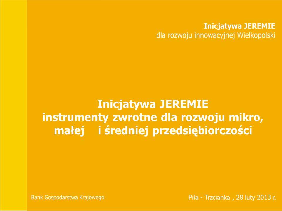 Inicjatywa JEREMIE instrumenty zwrotne dla rozwoju mikro, małej i średniej przedsiębiorczości.