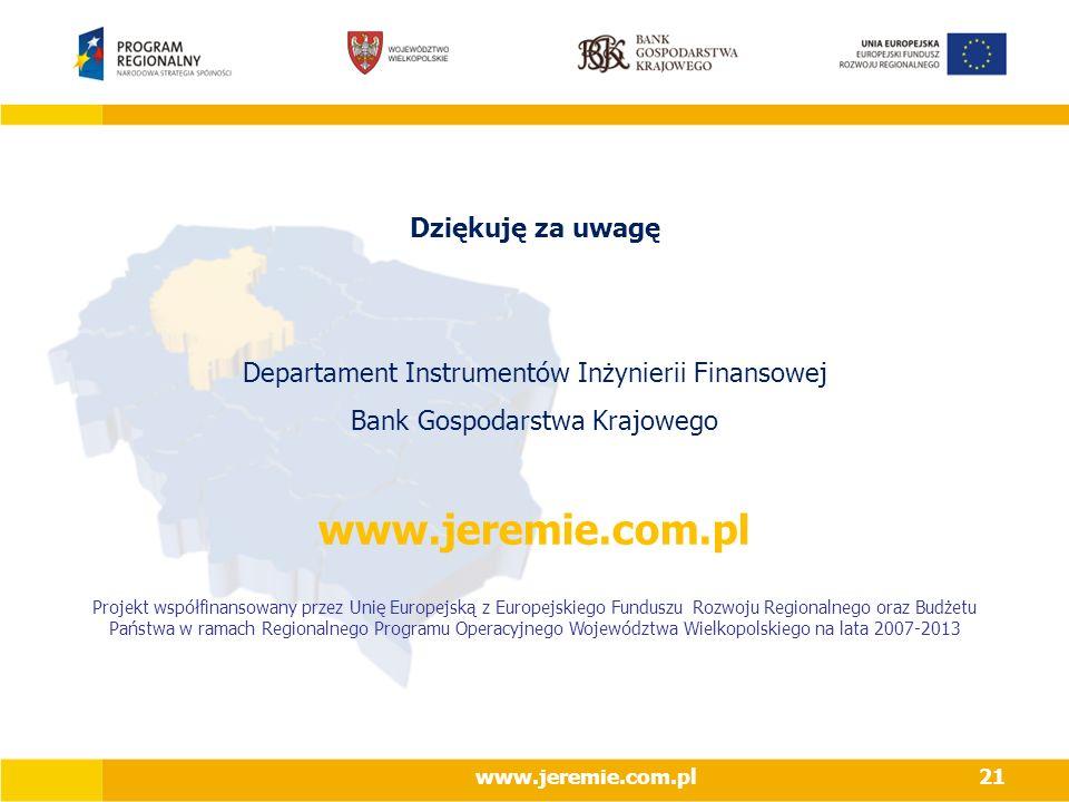 www.jeremie.com.pl Dziękuję za uwagę