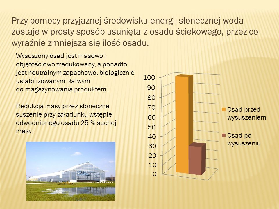 Przy pomocy przyjaznej środowisku energii słonecznej woda zostaje w prosty sposób usunięta z osadu ściekowego, przez co wyraźnie zmniejsza się ilość osadu.