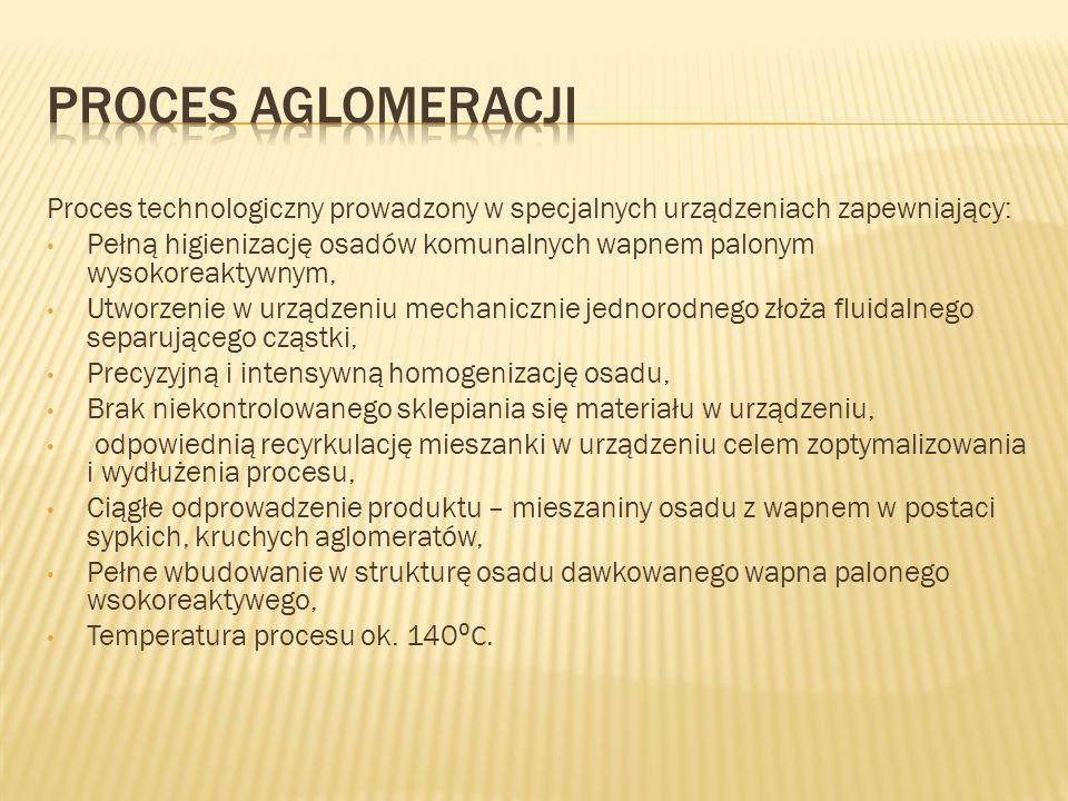 Proces aglomeracji Proces technologiczny prowadzony w specjalnych urządzeniach zapewniający: