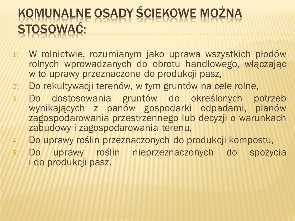 Komunalne osady ściekowe można stosować: