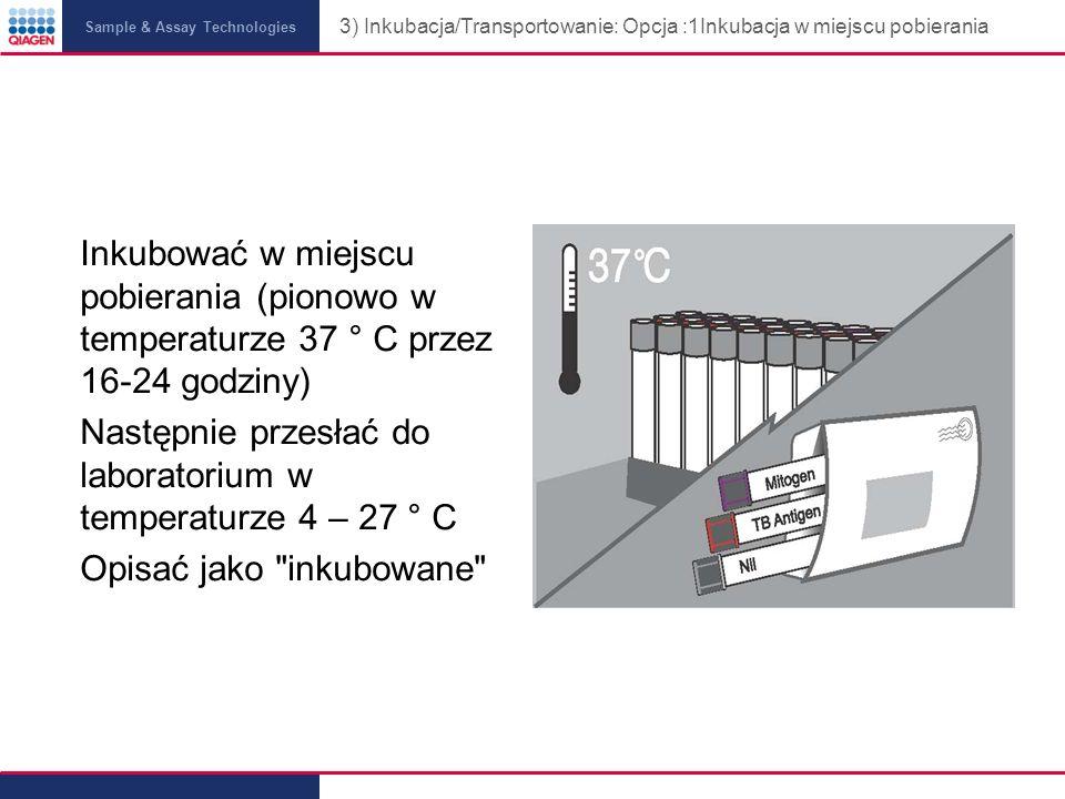 3) Inkubacja/Transportowanie: Opcja :1Inkubacja w miejscu pobierania
