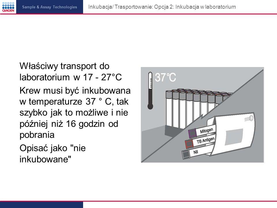 Inkubacja/ Trasportowanie: Opcja 2: Inkubacja w laboratorium