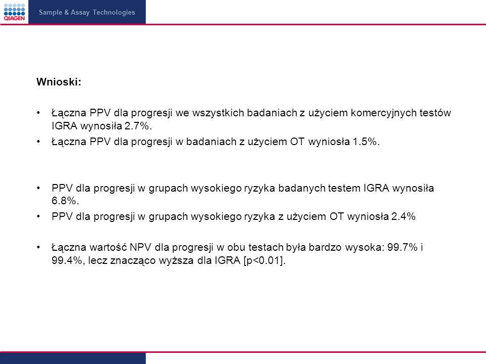 Łączna PPV dla progresji w badaniach z użyciem OT wyniosła 1.5%.