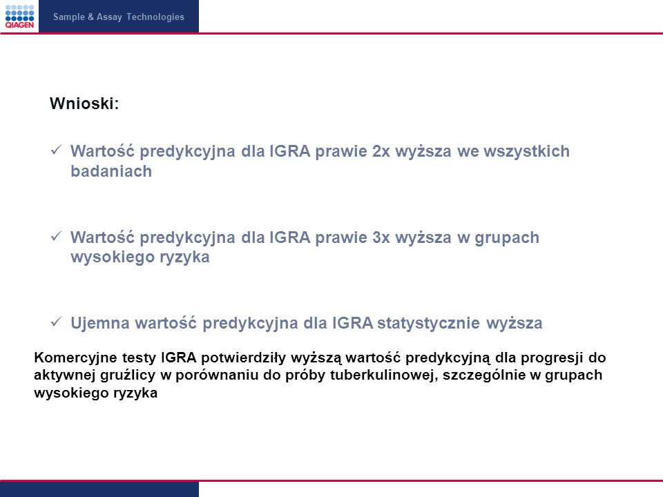 Wartość predykcyjna dla IGRA prawie 2x wyższa we wszystkich badaniach