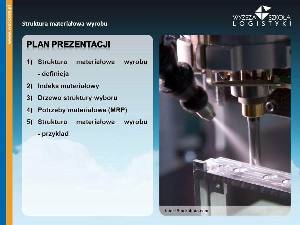 Plan prezentacji Struktura materiałowa wyrobu