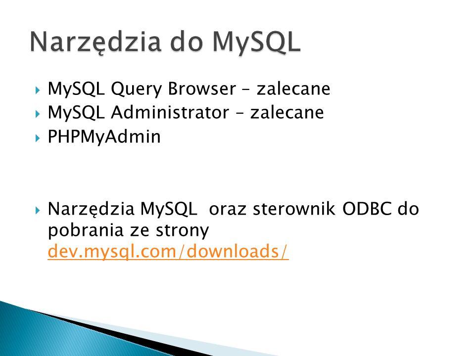 Narzędzia do MySQL MySQL Query Browser – zalecane