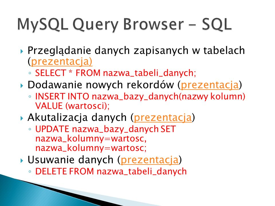 MySQL Query Browser - SQL