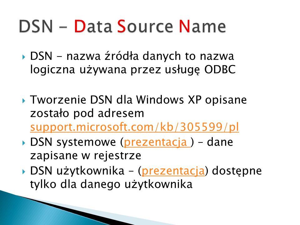 DSN - Data Source Name DSN - nazwa źródła danych to nazwa logiczna używana przez usługę ODBC.