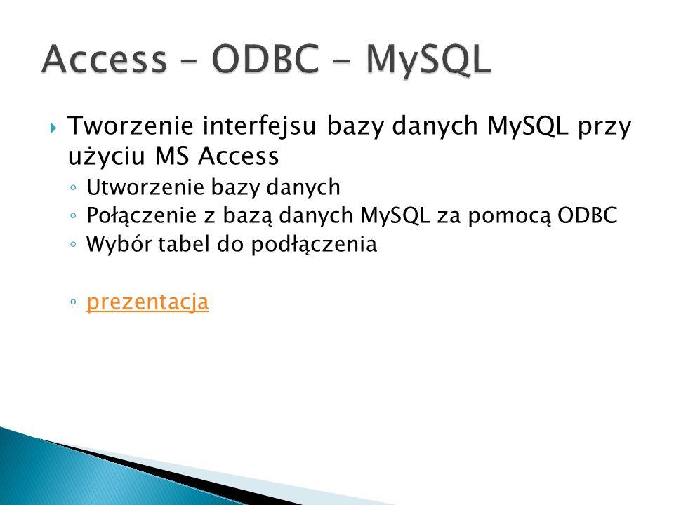 Access – ODBC - MySQL Tworzenie interfejsu bazy danych MySQL przy użyciu MS Access. Utworzenie bazy danych.