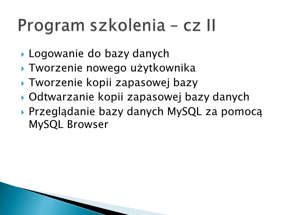 Program szkolenia – cz II