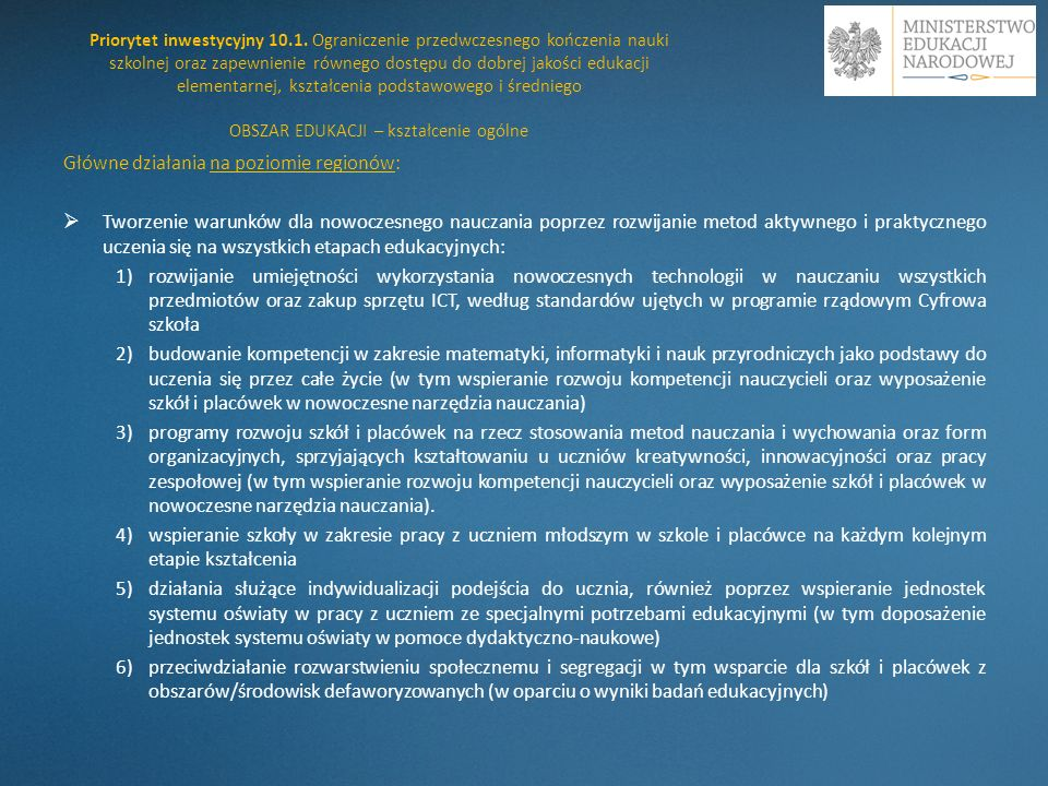 Główne działania na poziomie regionów: