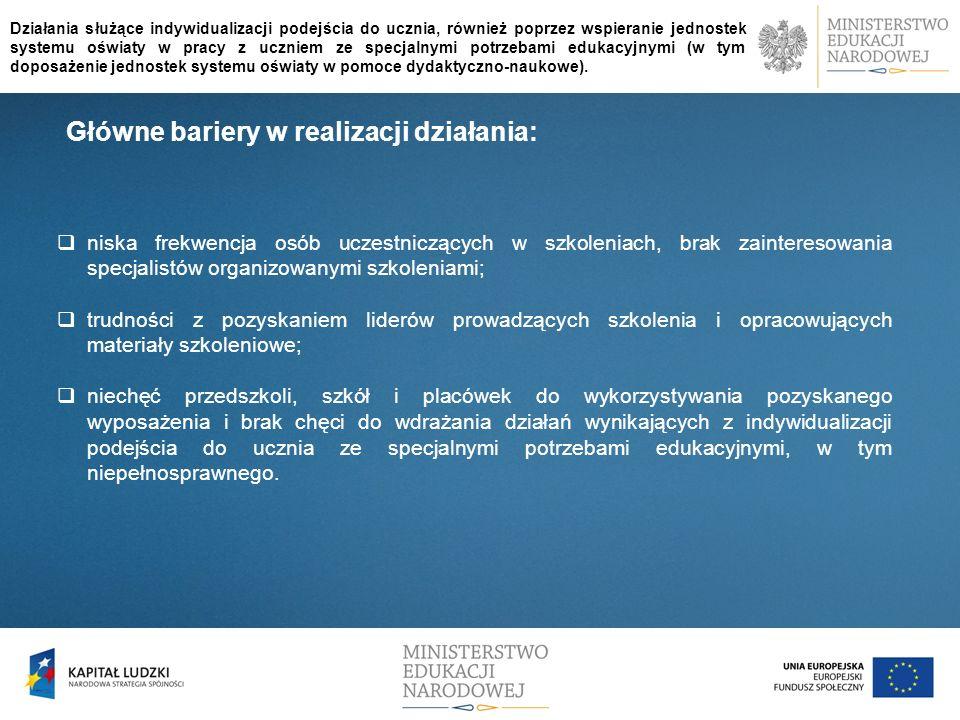 Główne bariery w realizacji działania: