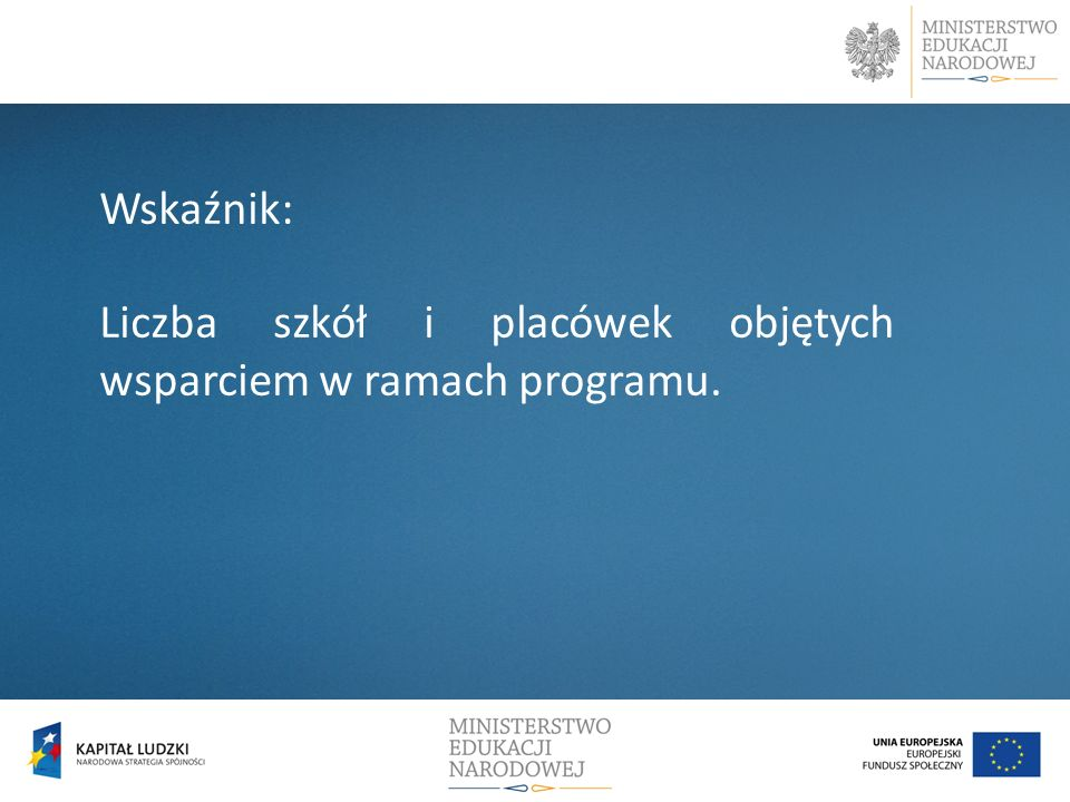 Wskaźnik: Liczba szkół i placówek objętych wsparciem w ramach programu.