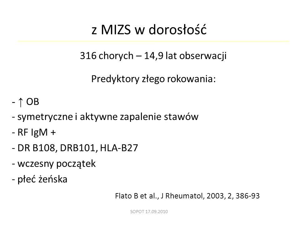 z MIZS w dorosłość 316 chorych – 14,9 lat obserwacji