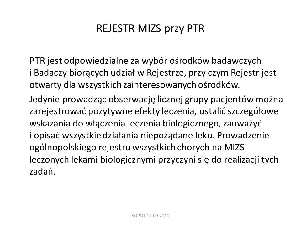 REJESTR MIZS przy PTR