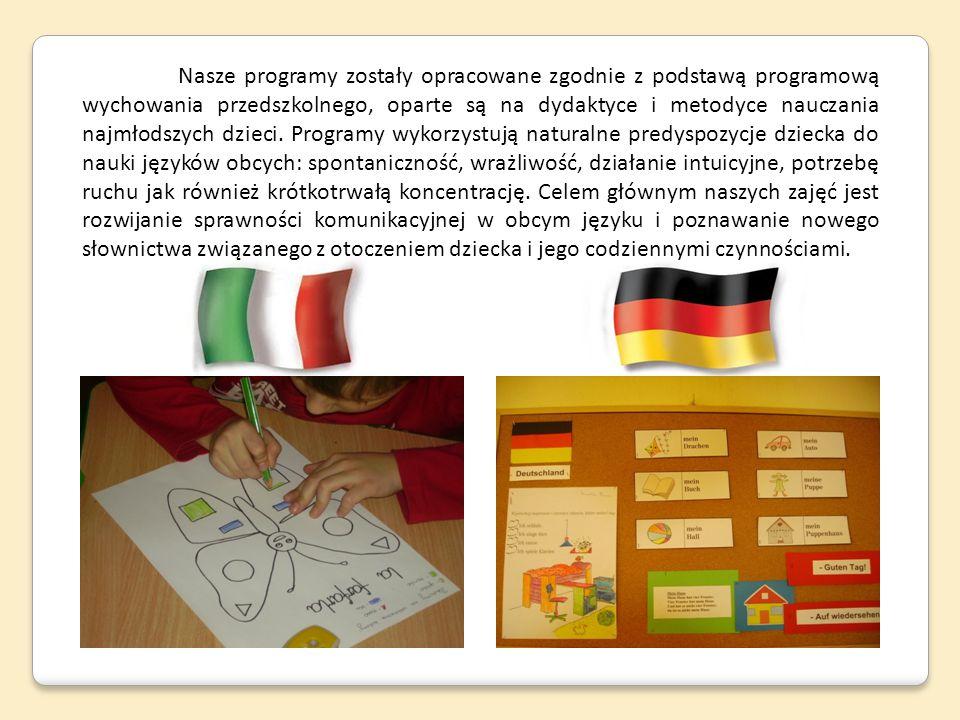 Nasze programy zostały opracowane zgodnie z podstawą programową wychowania przedszkolnego, oparte są na dydaktyce i metodyce nauczania najmłodszych dzieci.