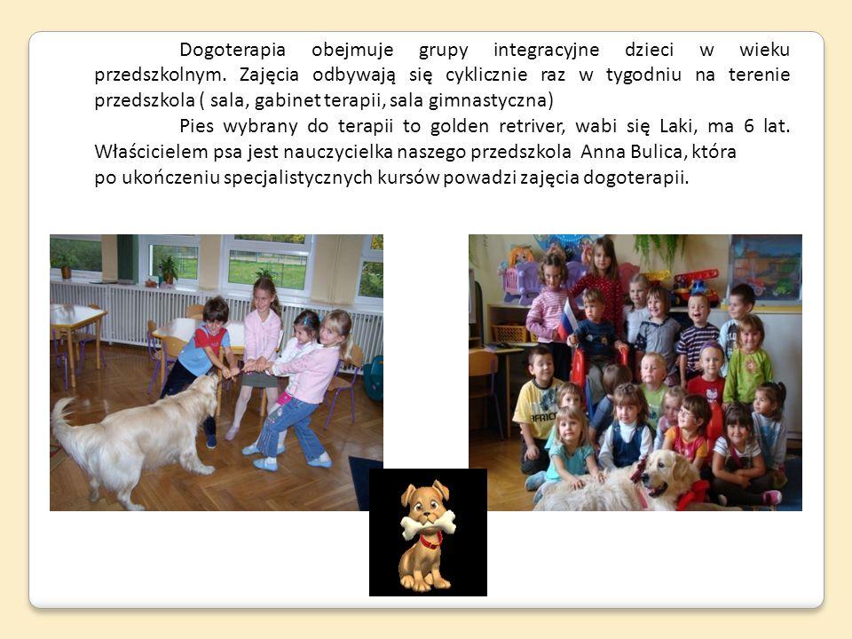 Dogoterapia obejmuje grupy integracyjne dzieci w wieku przedszkolnym