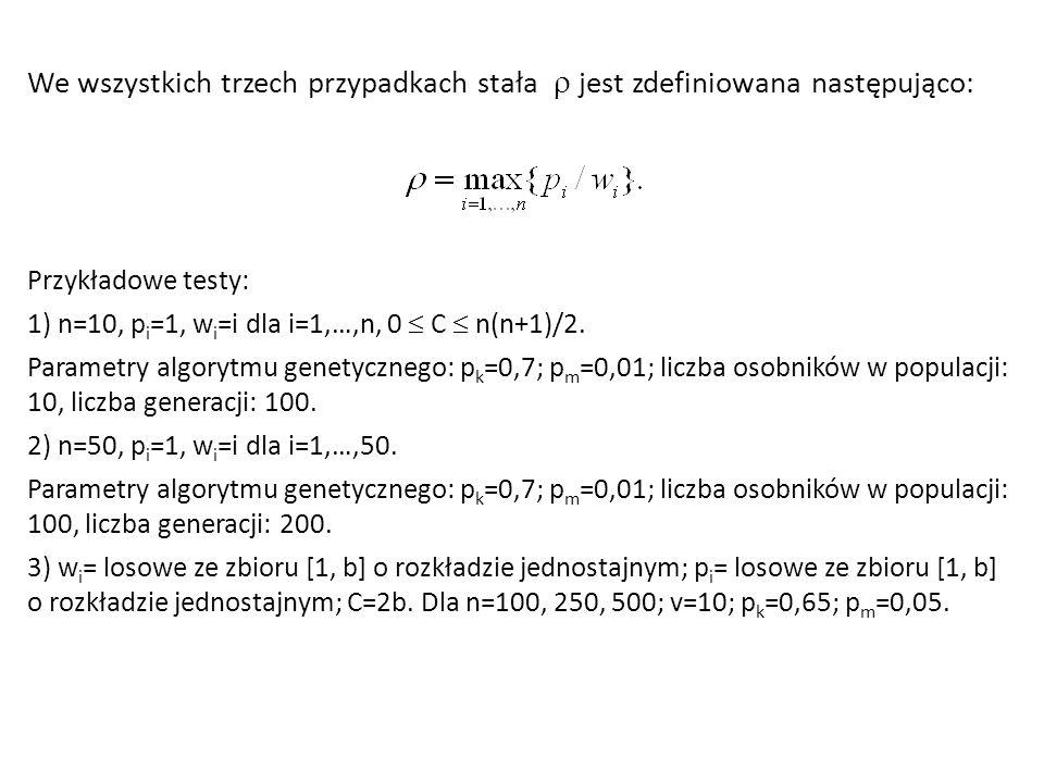 We wszystkich trzech przypadkach stała  jest zdefiniowana następująco: