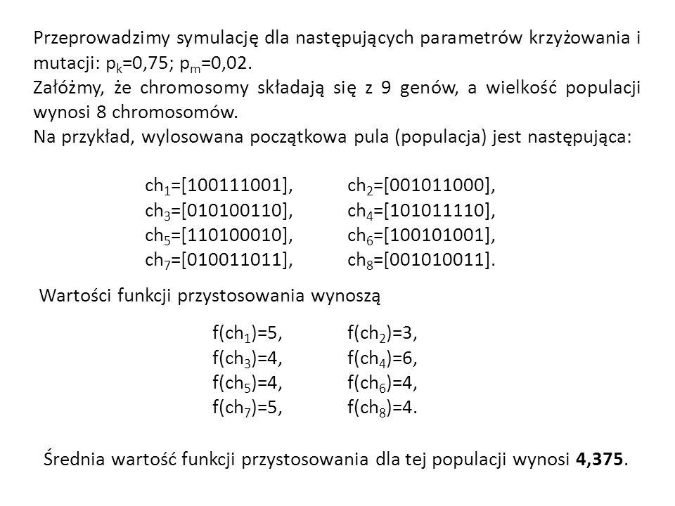 Przeprowadzimy symulację dla następujących parametrów krzyżowania i mutacji: pk=0,75; pm=0,02.