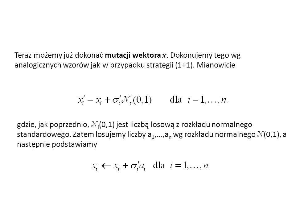 Teraz możemy już dokonać mutacji wektora x