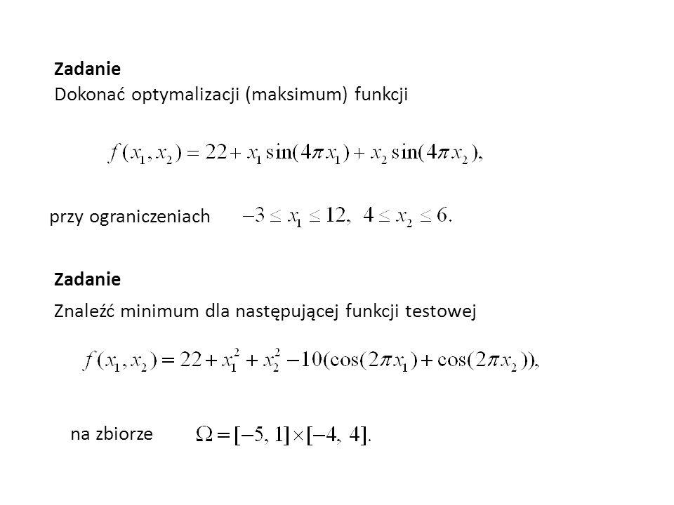 Zadanie Dokonać optymalizacji (maksimum) funkcji. przy ograniczeniach. Zadanie. Znaleźć minimum dla następującej funkcji testowej.