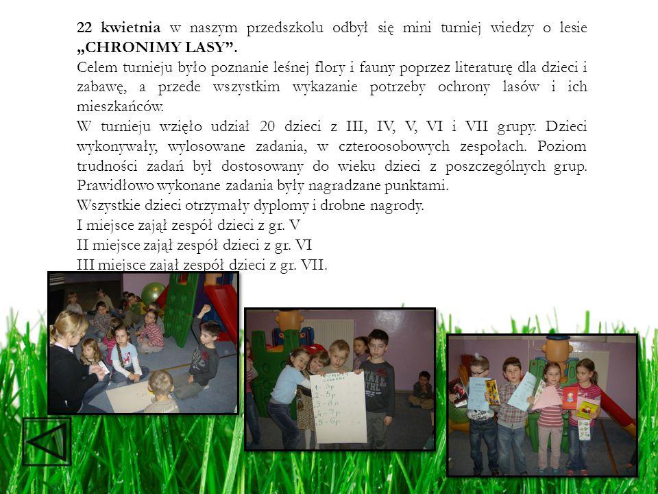"""22 kwietnia w naszym przedszkolu odbył się mini turniej wiedzy o lesie """"CHRONIMY LASY ."""