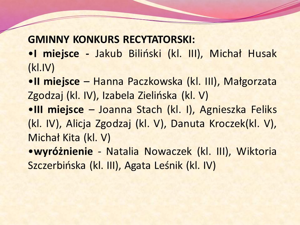 GMINNY KONKURS RECYTATORSKI: