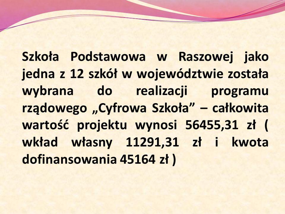 """Szkoła Podstawowa w Raszowej jako jedna z 12 szkół w województwie została wybrana do realizacji programu rządowego """"Cyfrowa Szkoła – całkowita wartość projektu wynosi 56455,31 zł ( wkład własny 11291,31 zł i kwota dofinansowania 45164 zł )"""