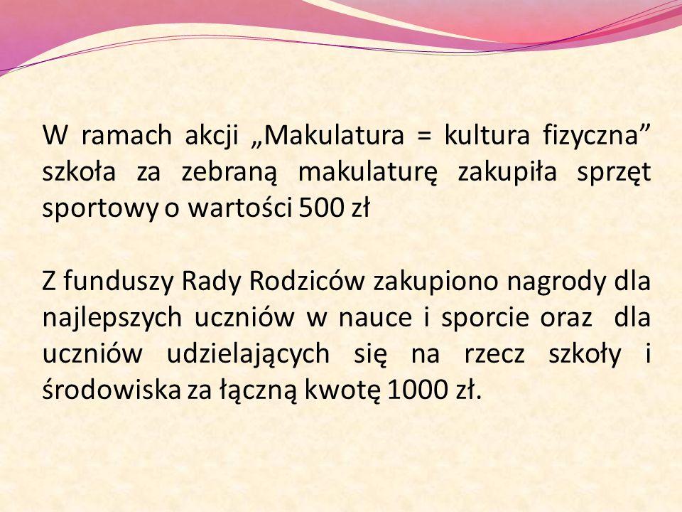 """W ramach akcji """"Makulatura = kultura fizyczna szkoła za zebraną makulaturę zakupiła sprzęt sportowy o wartości 500 zł"""