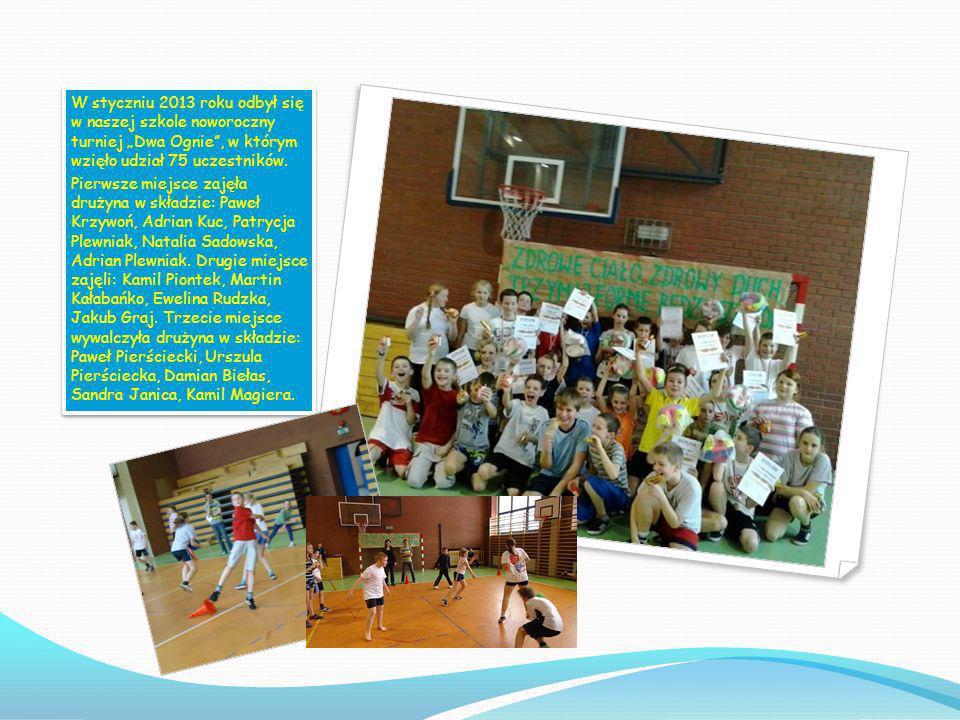 """W styczniu 2013 roku odbył się w naszej szkole noworoczny turniej """"Dwa Ognie , w którym wzięło udział 75 uczestników."""