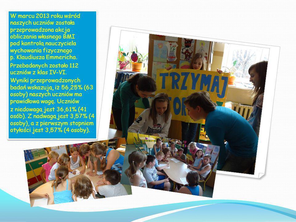 W marcu 2013 roku wśród naszych uczniów została przeprowadzona akcja obliczania własnego BMI pod kontrolą nauczyciela wychowania fizycznego p. Klaudiusza Emmericha.