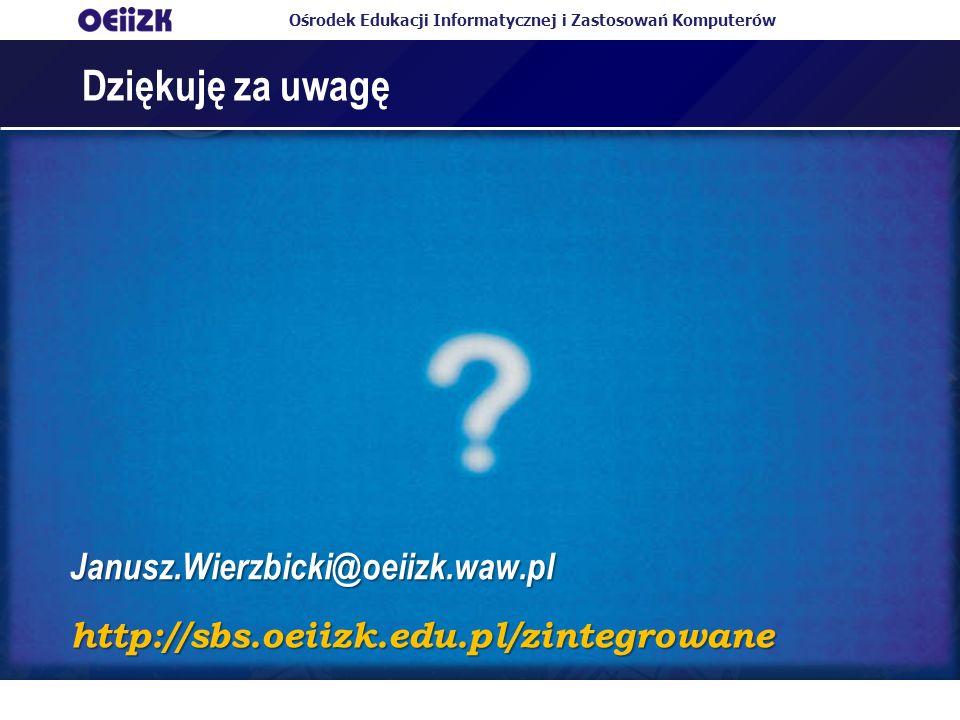 Dziękuję za uwagę Janusz.Wierzbicki@oeiizk.waw.pl
