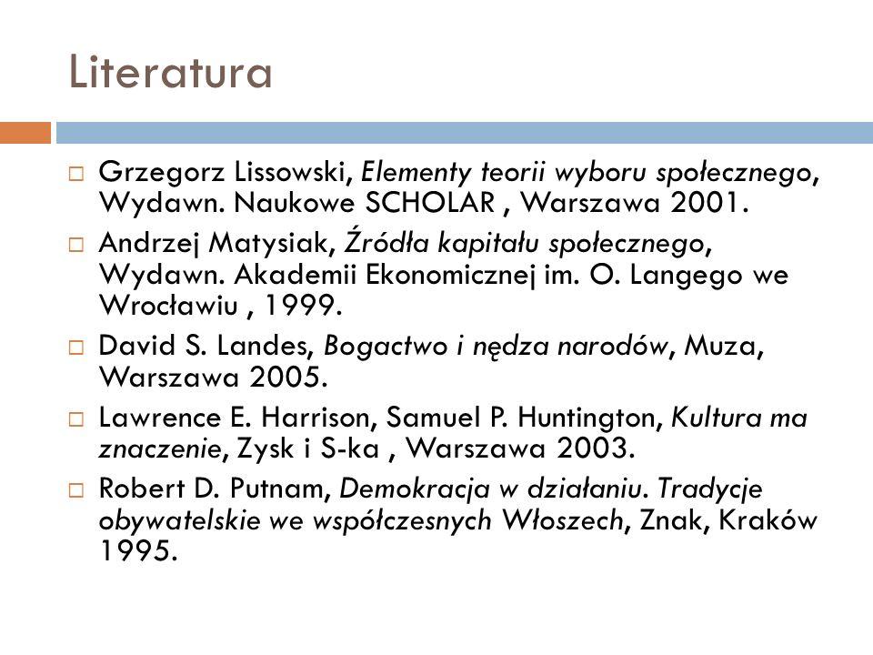 Literatura Grzegorz Lissowski, Elementy teorii wyboru społecznego, Wydawn. Naukowe SCHOLAR , Warszawa 2001.