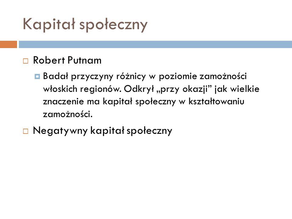 Kapitał społeczny Robert Putnam Negatywny kapitał społeczny