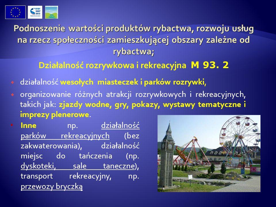 Działalność rozrywkowa i rekreacyjna M 93. 2