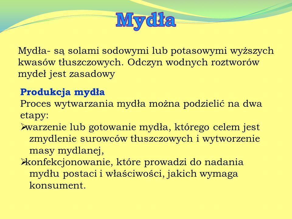 Mydła Mydła- są solami sodowymi lub potasowymi wyższych kwasów tłuszczowych. Odczyn wodnych roztworów mydeł jest zasadowy.