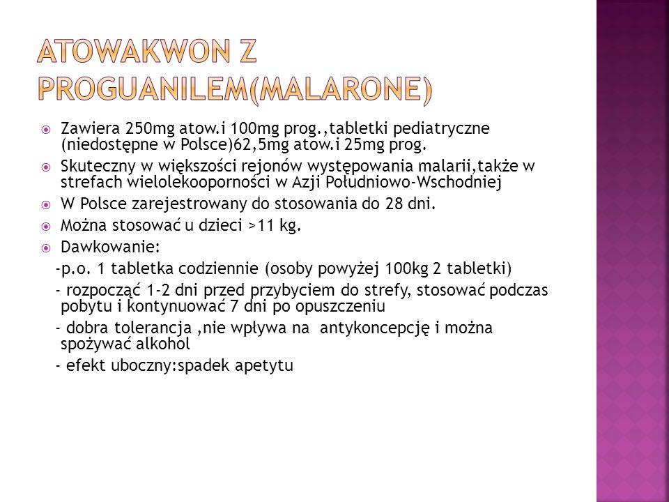 Atowakwon z proguanilem(Malarone)