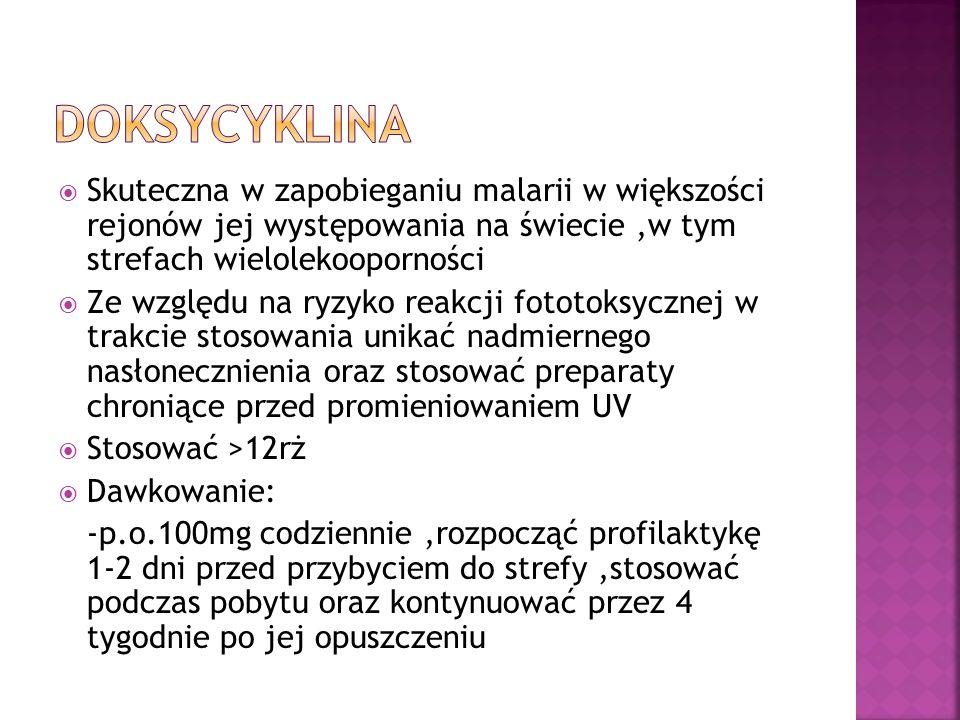 doksycyklina Skuteczna w zapobieganiu malarii w większości rejonów jej występowania na świecie ,w tym strefach wielolekooporności.