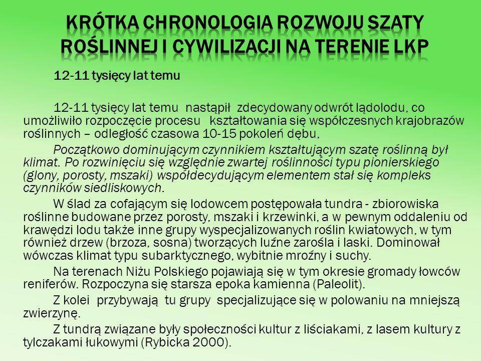 Krótka chronologia rozwoju szaty roślinnej i cywilizacji na terenie LKP
