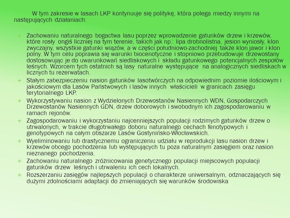 W tym zakresie w lasach LKP kontynuuje się politykę, która polega miedzy innymi na następujących działaniach: