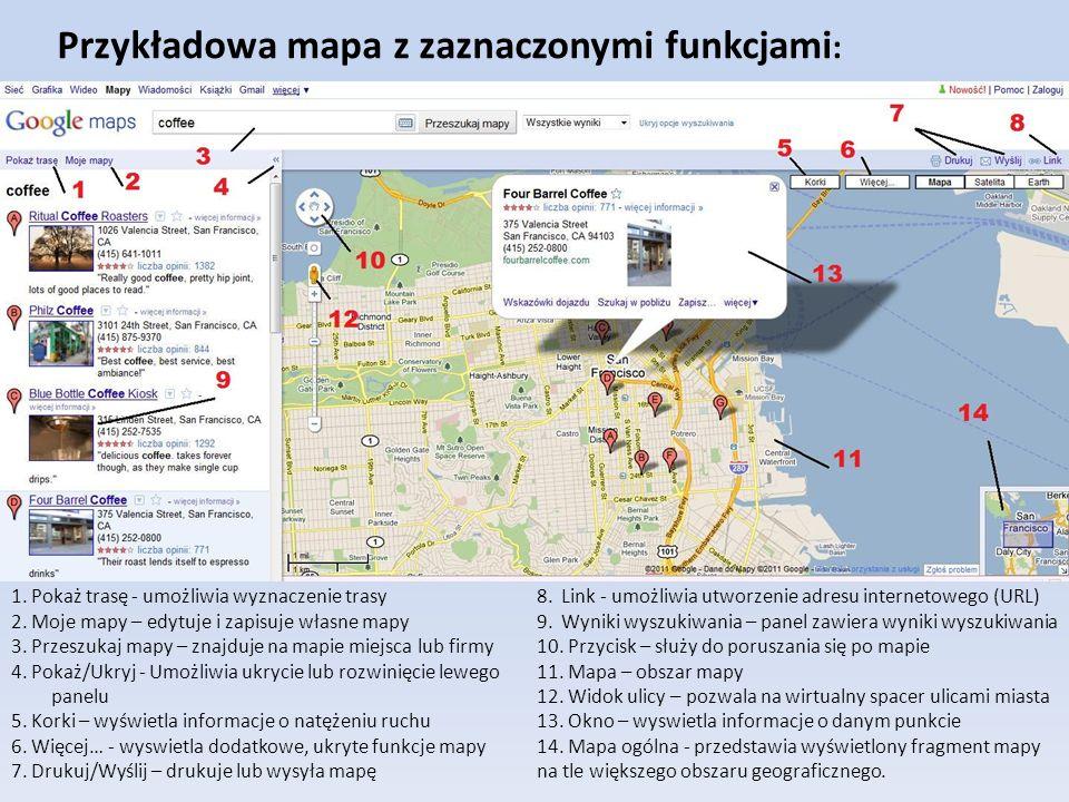 Przykładowa mapa z zaznaczonymi funkcjami: