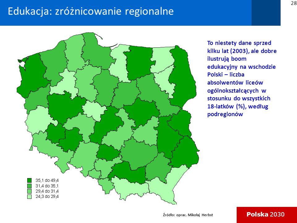 Edukacja: zróżnicowanie regionalne