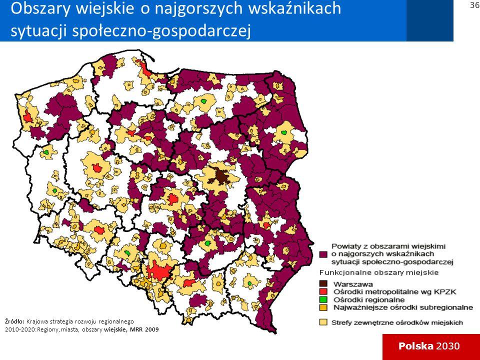 Obszary wiejskie o najgorszych wskaźnikach sytuacji społeczno-gospodarczej