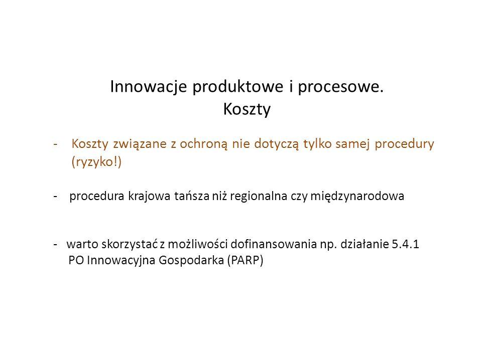 Innowacje produktowe i procesowe. Koszty