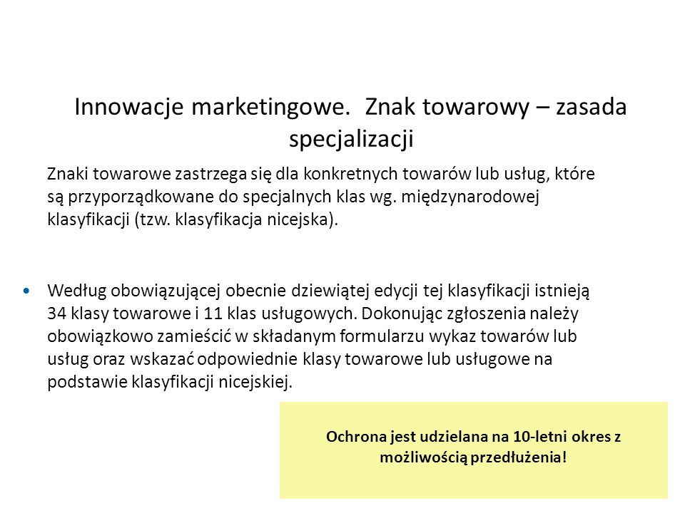 Innowacje marketingowe. Znak towarowy – zasada specjalizacji