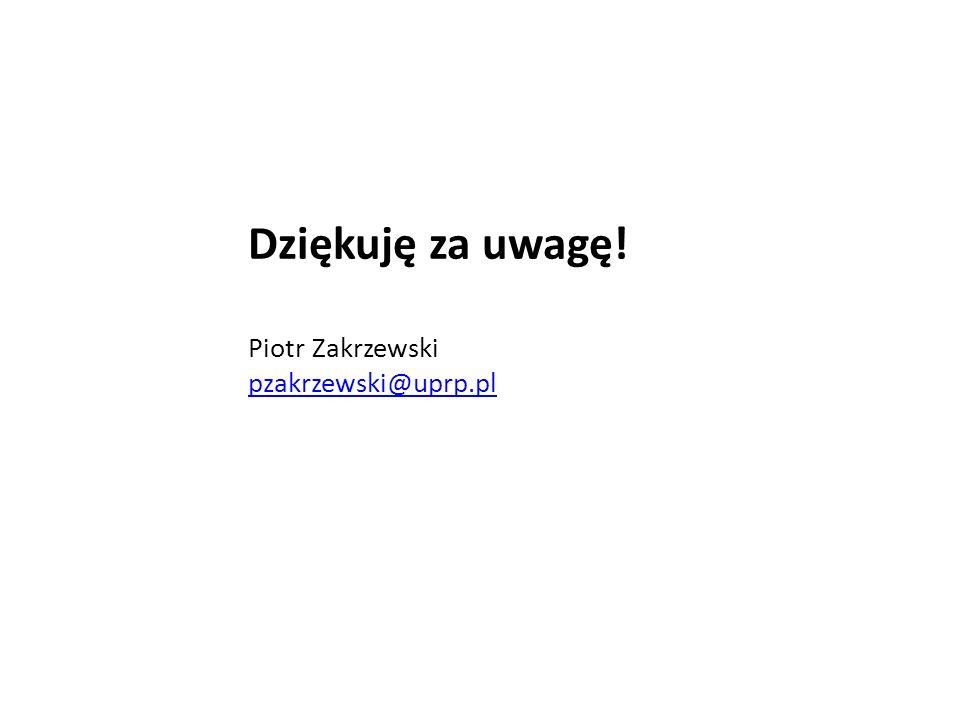 Dziękuję za uwagę! Piotr Zakrzewski pzakrzewski@uprp.pl