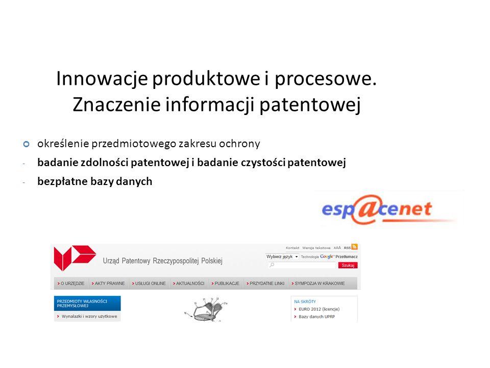 Innowacje produktowe i procesowe. Znaczenie informacji patentowej
